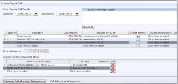 FundCount create capital call screenshot