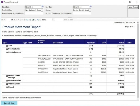 MyPOS Connect comprehensive inventory reporting