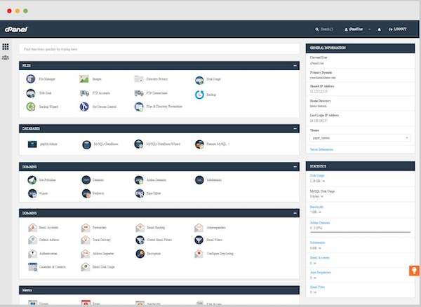 cPanel & WHM user interface