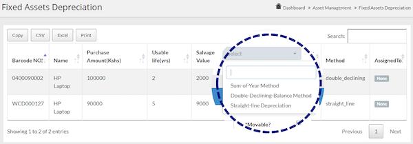 Webscreations FAMS asset depreciation screenshot