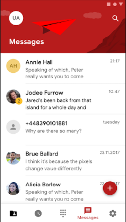 Zadarma messages screenshot