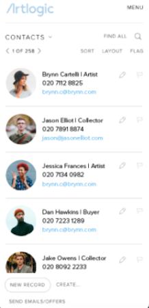 Artlogic contact database