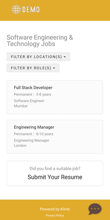 Klimb career site mobile view