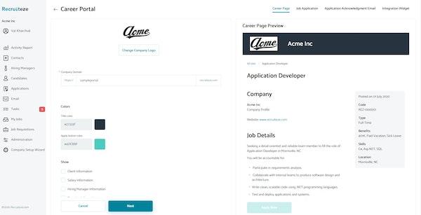 Recruiteze career portal