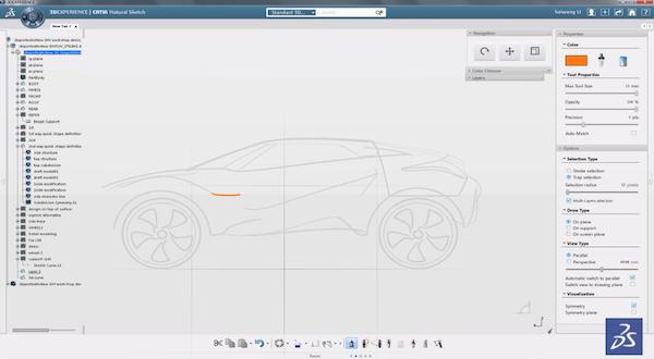 CATIA 3D natural sketch