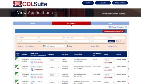 CDLSuite view applications