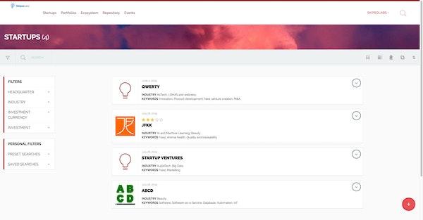 SkipsoLabs centralized database screenshot