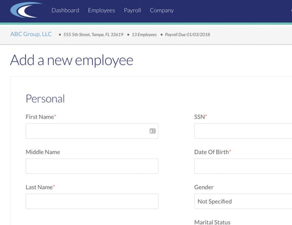 CertiPay Online add new employee