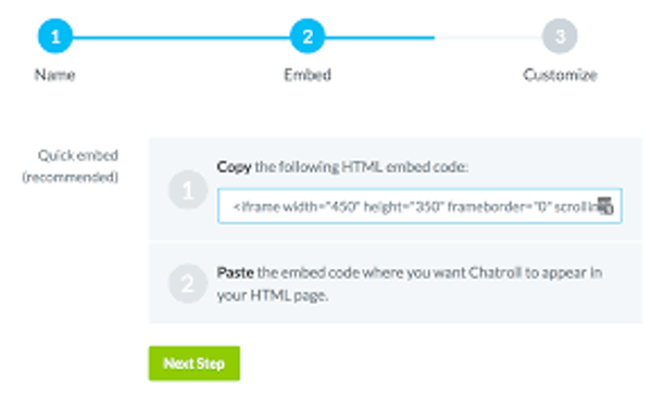 Chatroll customizable embed code