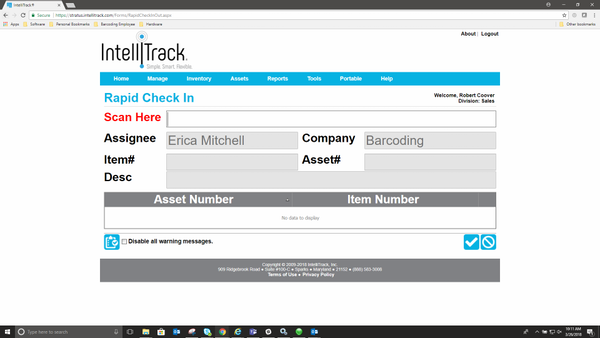 IntelliTrackAssets check-in management
