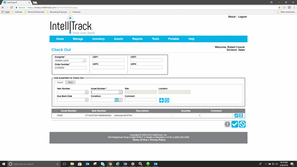 IntelliTrackAssets check-out management