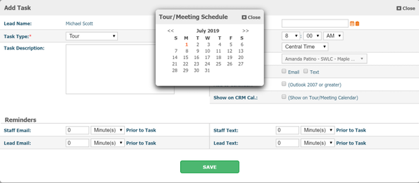 ChildCare CRM tour/meeting schedule