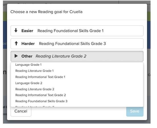 eSpark selecting reading goal