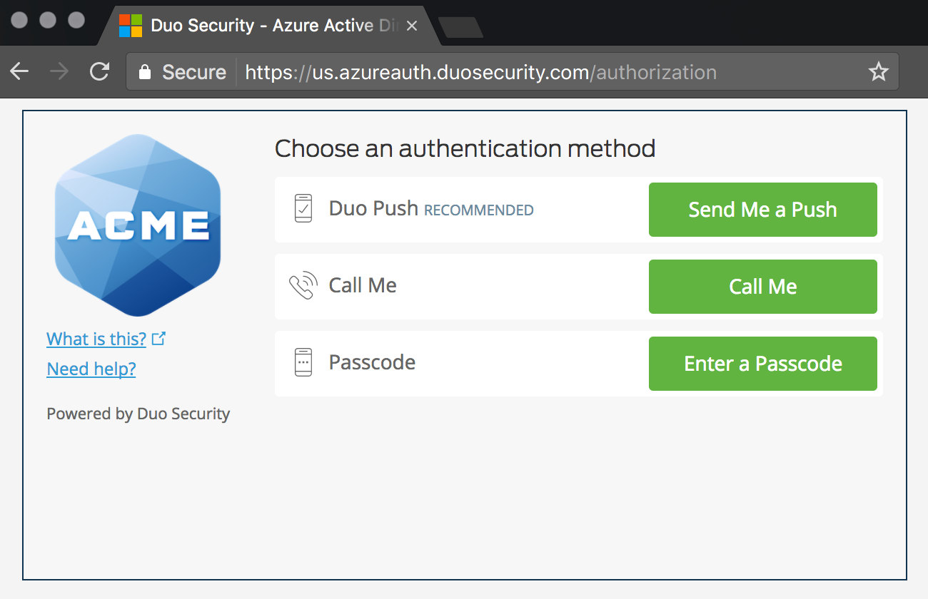 Choosing an authentication method
