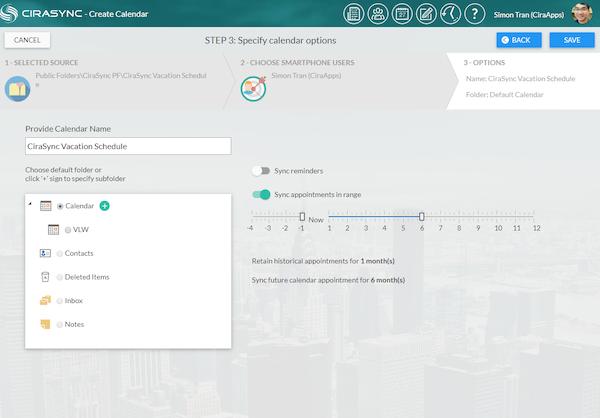 CiraSync specifying calendar sync options screenshot