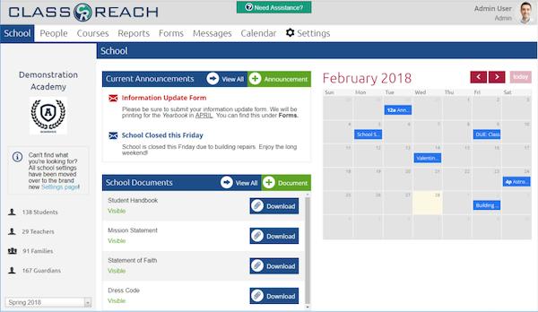 ClassReach main dashboard