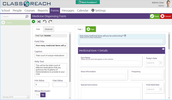 ClassReach forms