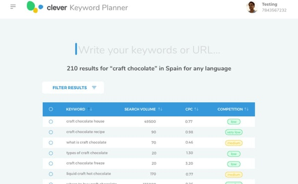Clever Ads Keyword Planner search keywords