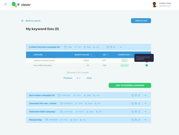 Clever Ads Keyword Planner keyword lists