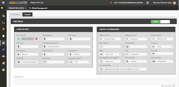 Accountri client management screenshot