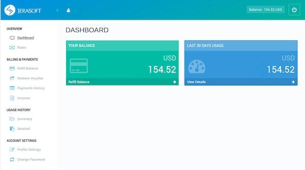 JeraSoft VCS client portal screenshot