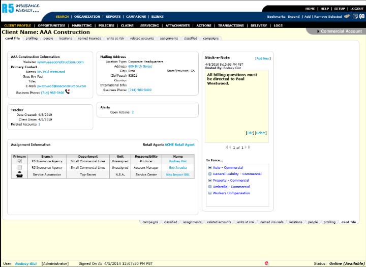 Nexsure Agency Management - Client profile