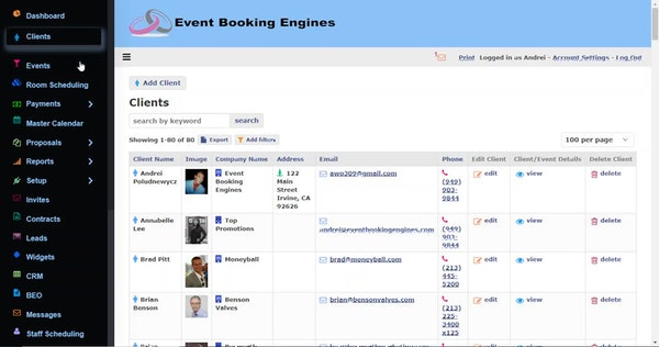 Event Booking Engines clients