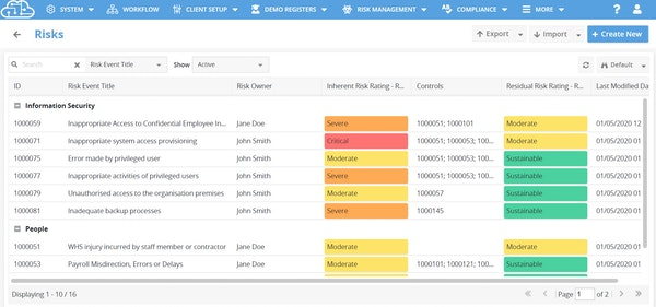 Cloudlines risk register view