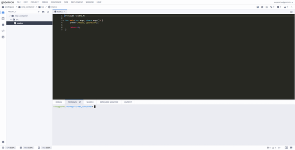 goormIDE code editing