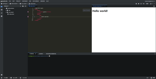 goormIDE code output preview