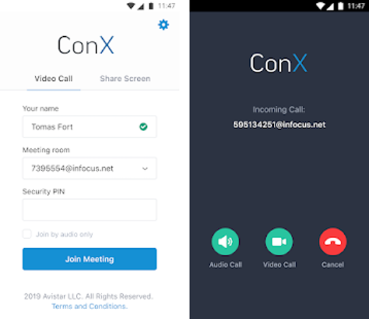 ConX incoming call view