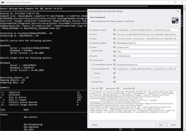 dbForge Data Compare for SQL Server command line interface screenshot