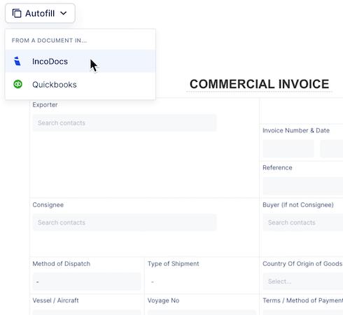IncoDocs invoice export