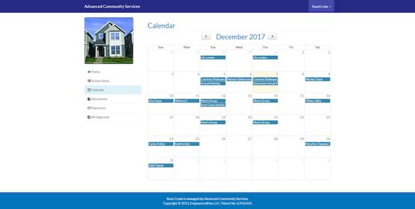 EmpoweredHOA community calendar