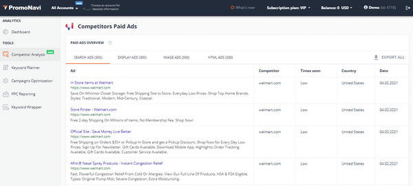 PromoNavi competitor analysis of paid ads