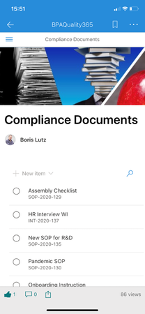 Accessing compliance documents with a phone.