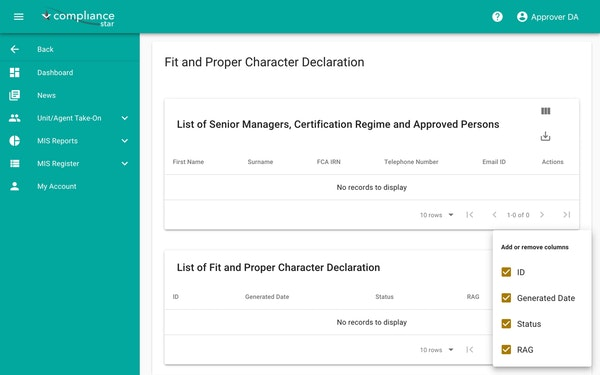 Compliance Star character declaration