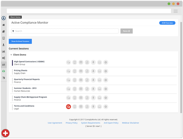 ComplyWorks compliance monitoring screenshot