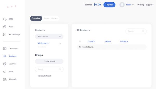 Contacts Dashboard Dexatel