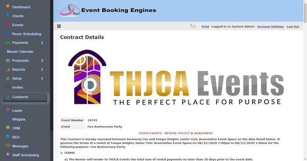 Event Booking Engines contract details