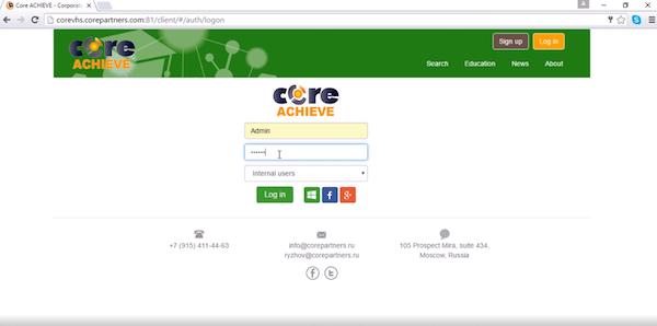 Core LMS admin login