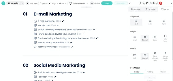 LearnWorlds course contents