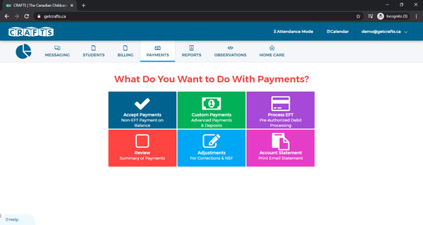 CRAFTS payment dashboard