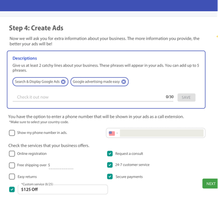 Google Ads Creator creating a campaign
