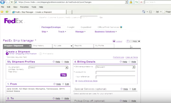 FedEx Ship Manager creating a shipping profile