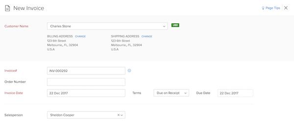 Zoho Invoice new invoice screenshot