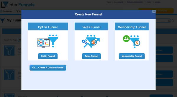 InterFunnels creating new funnel screenshot