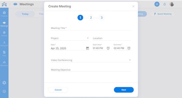 adam.ai creating a meeting