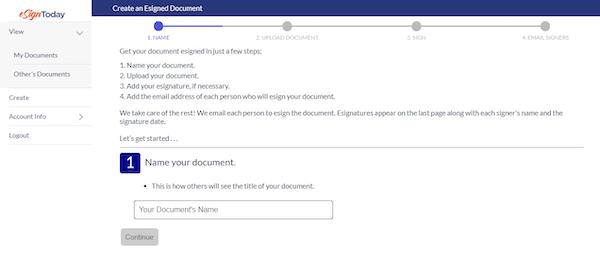 eSignToday creating document