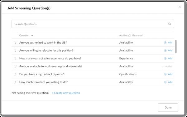 Journeyfront custom screening questions